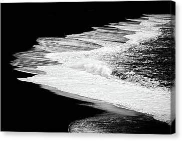 Canvas Print featuring the photograph Black Beach And The Water Of The Ocean by Matthias Hauser