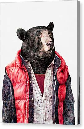 Black Bear Canvas Print by Animal Crew
