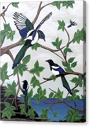 Canvas Print featuring the painting Black Billed Magpies by Teresa Wing