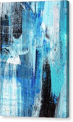Canvas Print featuring the painting Black Blue Abstract Painting by Christina Rollo