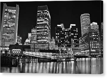 Black Boston Night Canvas Print by Frozen in Time Fine Art Photography