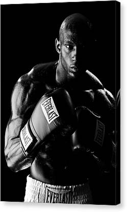 Black Boxer In Black And White 03 Canvas Print by Val Black Russian Tourchin