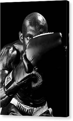 Black Boxer In Black And White 04 Canvas Print by Val Black Russian Tourchin