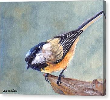 Black Capped Chickadee Canvas Print by Debra Mickelson