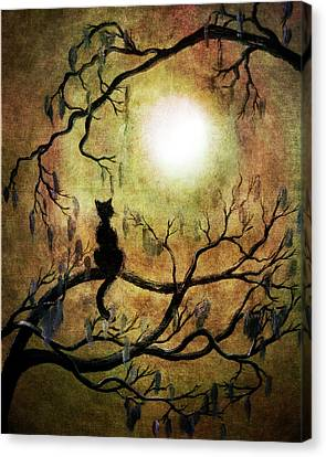 Black Cat And Full Moon Canvas Print by Laura Iverson