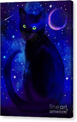 Canvas Print featuring the painting Black Cat Blues  by Nick Gustafson