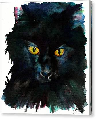 Black Cat Canvas Print by Christy  Freeman