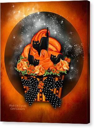 Black Cat Cupcake Canvas Print by Carol Cavalaris