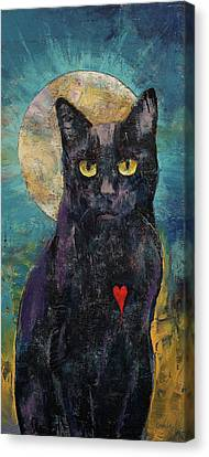 Black Cat Lover Canvas Print by Michael Creese