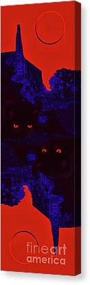 Black Cat Under A Blood Red Moon Canvas Print by Jeff Breiman