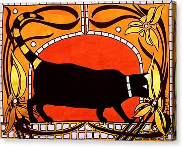 Canvas Print featuring the painting Black Cat With Floral Motif Of Art Nouveau By Dora Hathazi Mendes by Dora Hathazi Mendes
