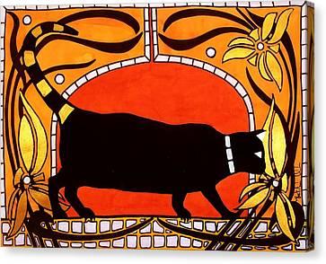 Black Cat With Floral Motif Of Art Nouveau By Dora Hathazi Mendes Canvas Print by Dora Hathazi Mendes