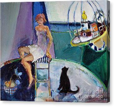 Canvas Print featuring the painting Black Cat Yellow Bird by Diane Ursin