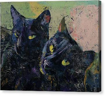 Chat Canvas Print - Black Cats by Michael Creese