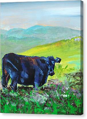 Black Cow With Distant Hills Painting Canvas Print by Mike Jory
