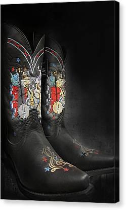 Black Cowboy Boot Canvas Print by Art Spectrum