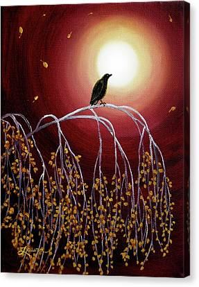 Black Crow On White Birch Branches Canvas Print