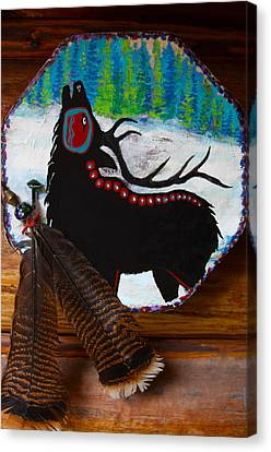Black Elk Drum Painting Canvas Print by Karon Melillo DeVega