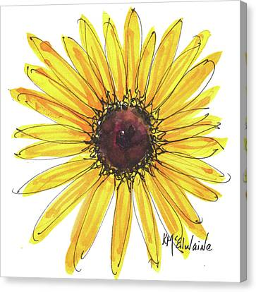 Black Eyed Susan Watercolor Painting By Kmcelwaine Canvas Print by Kathleen McElwaine