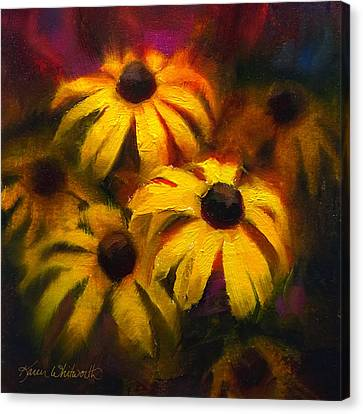 Canvas Print featuring the painting Black Eyed Susans - Vibrant Flowers by Karen Whitworth