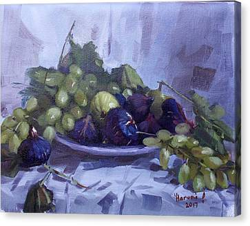 Fig Canvas Print - Black Figs And Grape by Ylli Haruni