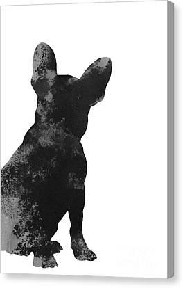 Black French Bulldog Minimalist Painting Canvas Print by Joanna Szmerdt