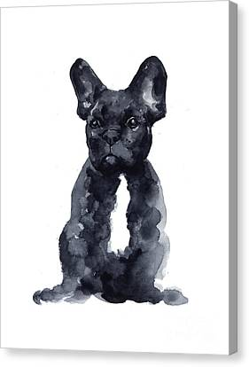 Bull Canvas Print - Black French Bulldog Watercolor Poster by Joanna Szmerdt