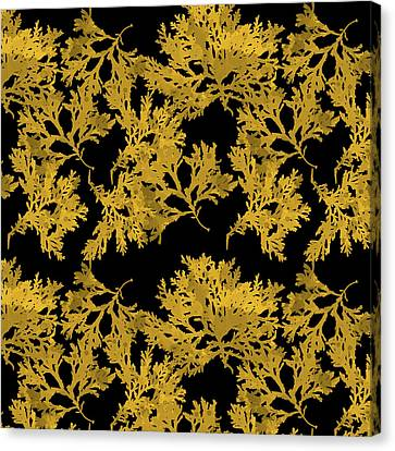 Canvas Print featuring the mixed media Black Gold Leaf Pattern by Christina Rollo