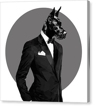Black Great Dane 2 Canvas Print by Gallini Design