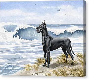 Black Great Dane At The Beach Canvas Print
