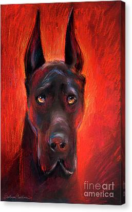 Black Great Dane Dog Painting Canvas Print by Svetlana Novikova