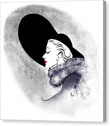 Canvas Print featuring the digital art Black Hat Red Lips by Cindy Garber Iverson