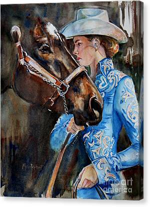 Black Horse And Cowgirl   Canvas Print by Maria's Watercolor
