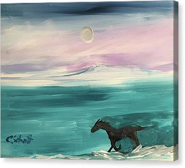 Black Horse Follows The Moon Canvas Print