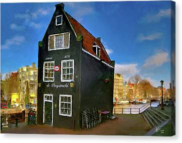 Canvas Print featuring the photograph Black House In Jodenbreestraat #1. Amsterdam by Juan Carlos Ferro Duque