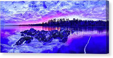 Maine Winter Canvas Print - Black Ice At Twilight by ABeautifulSky Photography by Bill Caldwell