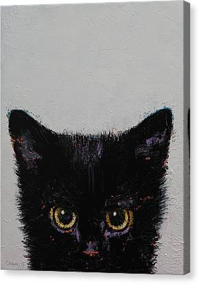 Caricature Canvas Print - Black Kitten by Michael Creese