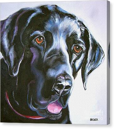 Black Lab No Ordinary Love Canvas Print by Susan A Becker