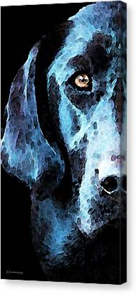 Labradors Canvas Print - Black Labrador Retriever Dog Art - Hunter by Sharon Cummings