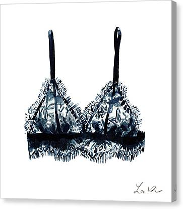 Black Lace Bralette 1 Boudoir Dressing Room Canvas Print by Laura Row