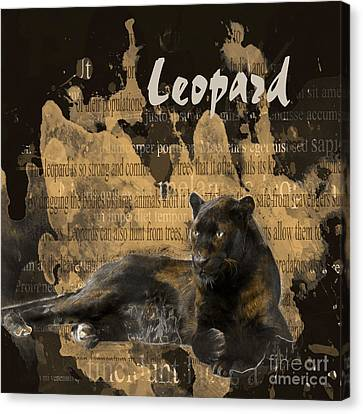 Black Leopard Canvas Print by Methune Hively