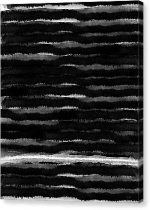 Black Lines- Art By Linda Woods Canvas Print by Linda Woods