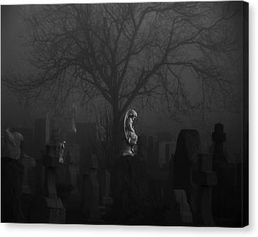 Black Midnight Stone Angel Canvas Print by Gothicrow Images