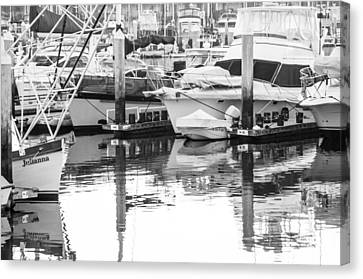 Black N White Harbor Canvas Print by Steve Newman