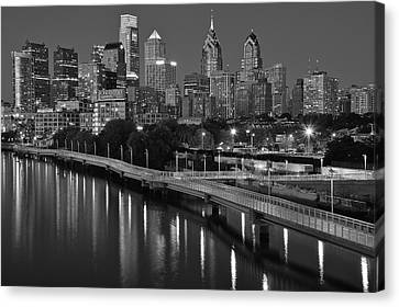 Rocky Statue Canvas Print - Black Night In Philly by Frozen in Time Fine Art Photography