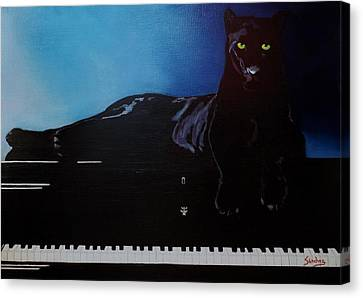 Black Panther And His Piano Canvas Print