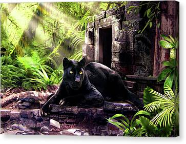 With Canvas Print - Black Panther Custodian Of Ancient Temple Ruins  by Regina Femrite