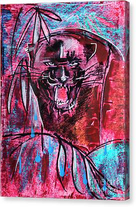Canvas Print featuring the drawing Black Panther,  Original Painting by Ariadna De Raadt