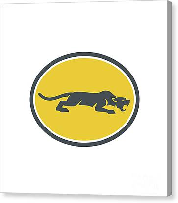 Black Panther Prowling Oval Retro Canvas Print