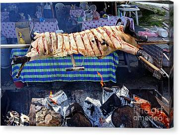 Canvas Print featuring the photograph Black Pig Spit Roasted In Taiwan by Yali Shi